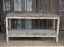 Antique Printers Table with faded paint tones, NEW YEAR SHIPMENT)